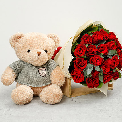 Adorable Brown Teddy Bear and Red Roses Bouquet: Stuffed Toys