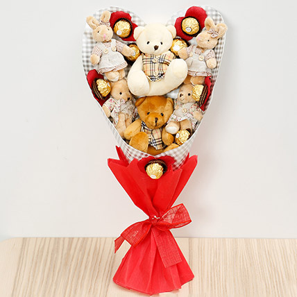 Chocolates and Teddy Bear Heart Shaped Bouquet: Chocolate Bouquet Singapore