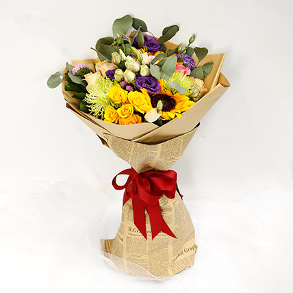 Colourful Mixed Flower Bouquet: Client Gifts