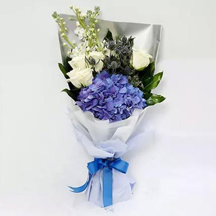 Elegant Bouquet Of Blues and Whites: Graduation Presents Singapore