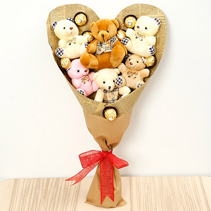 Heart Shaped Teddy Bear and Chocolate Bouquet: Chocolate Day Gifts