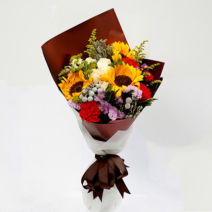 Joyful Bouquet Of Mixed Flowers: Sunflower Bouquets