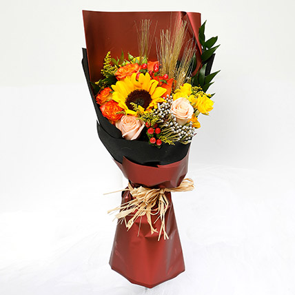 Mixed Orange and Yellow Flower Bouquet: Chinese New Year Flowers