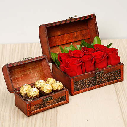 Passionate Red Roses and Chocolates Box: