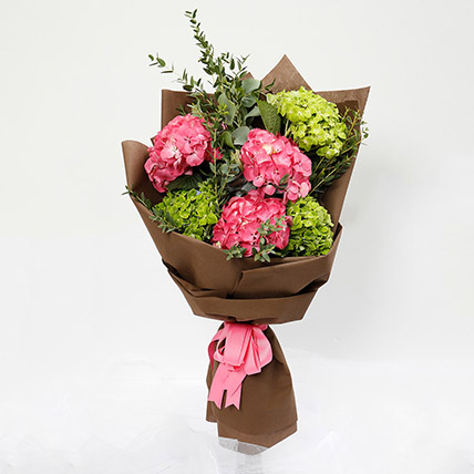 Pink and Green Hydrangea Bouquet: Peonies Flowers