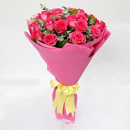 Ravishing 20 Dark Pink Roses Bouquet: Pink Flower Bouquet