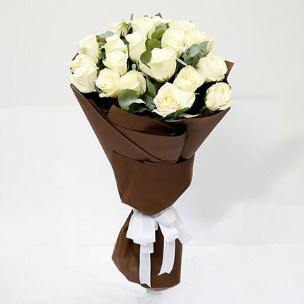 Serene 20 White Roses Bouquet: White Flowers