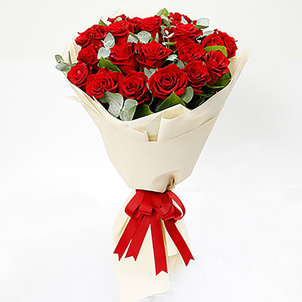 Timeless 20 Red Roses Bouquet: Anniversary Flowers Singapore