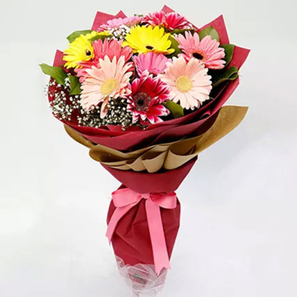 10 Gerbera Flowers Bouquet: Valentines Day Gifts