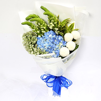 Azure Hydrangea and Button Mums Mix Bouquet: Green Flower Bouquet