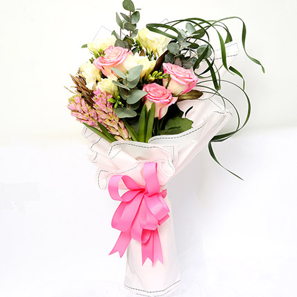 Endearing Roses and Freesia Bouquet: Happy Birthday Flowers