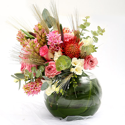 Mixed Roses and Hyacinth Vivid Flowers: Gifts for Husband