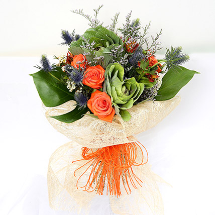 Orange Roses and Alstroemerias Mixed Bouquet: Chines New Year Flowers