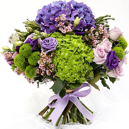 Roses and Hydrangeas Hand Tied Bunch: Miss You Flowers