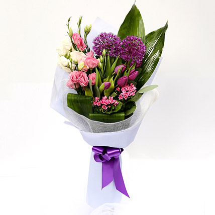 Tulip and Eustoma Mixed Floral Bouquet: Purple Flowers