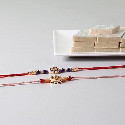 Beads Embellished Rakhis With Kaju Katli: Rakhi For Brother