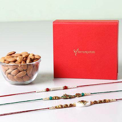 Combo of Almonds And 3 Glorious Rakhis: Rakhi Gifts