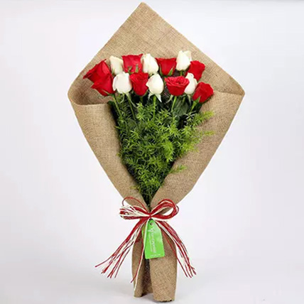 Red and White Roses in Jute Wrapping: National Day Gifts
