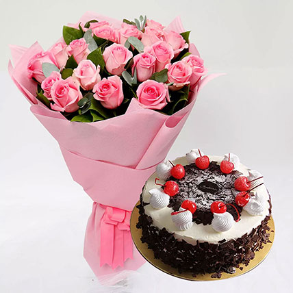 Black Forest Cake and Pink Rose Bouquet: Black Forest Cake