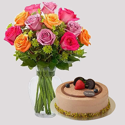Bright Roses and Chocolate Cake Combo: Flowers and Cake Delivery