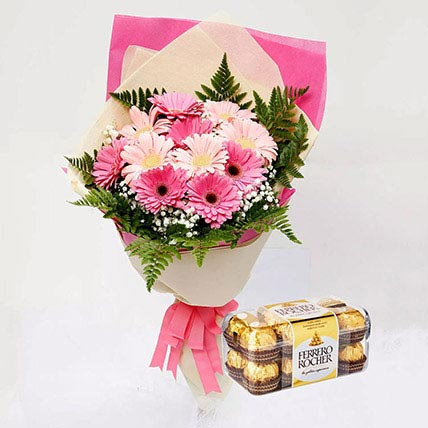 Ferrero Rocher Chocolates and Pink Gerbera Bouquet: Flowers And Chocolates