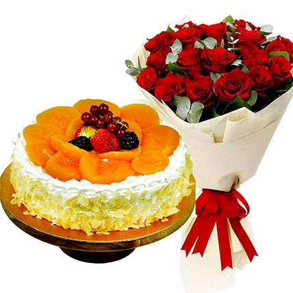 Fruit Cake and Red Rose Bouquet: Flowers And Cake For Anniversary