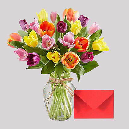 Greeting Card and Colourful Tulips: Gifts Combos