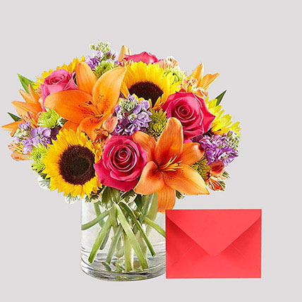 Greeting Card and Vivid Floral Vase: Flowers & Greeting Cards