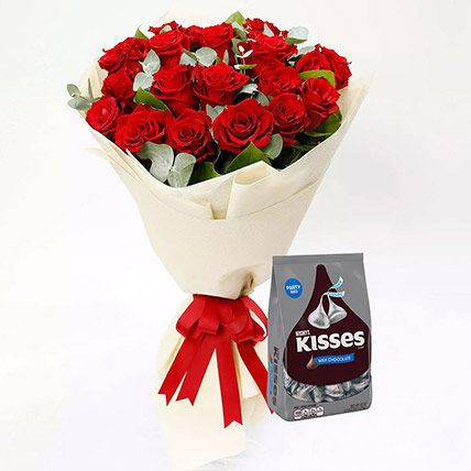 Hersheys Kisses Chocolates and Red Rose Bouquet: Combo Gifts