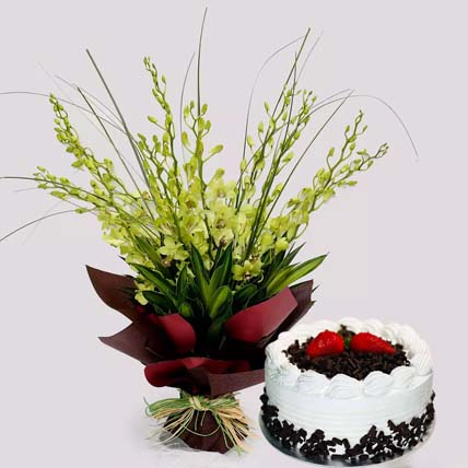 Mokara Orchid Bouquet and Black Forest Cake: Green Flowers