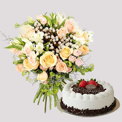 Pastel Floral Bunch and Black Forest Cake: Flowers And Cake For Anniversary