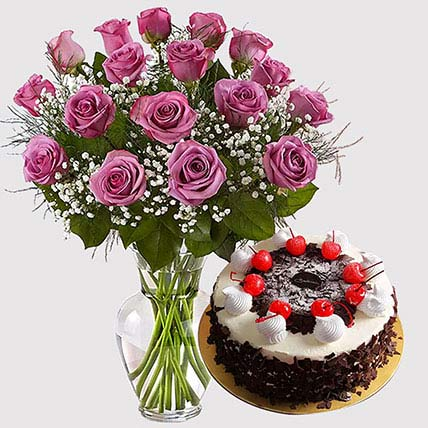 Purple Roses and Black Forest Cake Combo: Anniversary Flowers with Cake