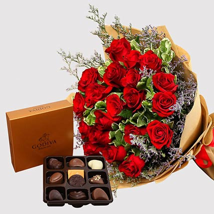 Red Roses and Godiva Chocolate Box: Flower N Chcocolates For Anniversary