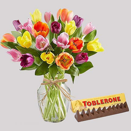 Toblerone Chocolate and Colourful Tulips: Tulip Bouquet