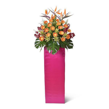 Two Tone Orange Gerberas Stand: Grand Opening Flower Stand Singapore