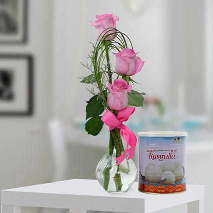 Pink Roses Arrangement and Rasgulla Combo:  Flowers Singapore