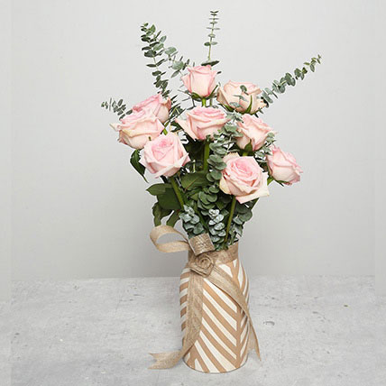 Pink Roses in Ceramic Pot: Wedding Flowers