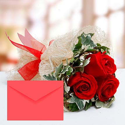 Red Roses Bouquet With Greeting Card: Happy Birthday Flowers