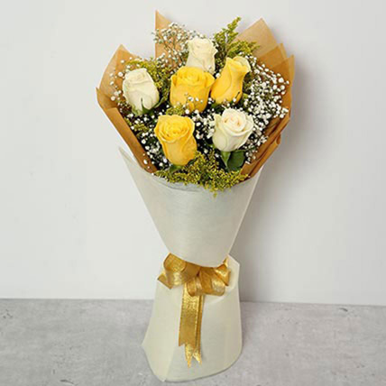 White and Yellow Roses Bouquet: Happy Birthday Flowers