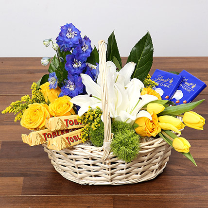 Yellow and Blue Floral Basket With Chocolates: Wellness Hampers Singapore