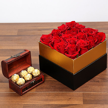 Idyllic Red Roses and Chocolates: Red Flowers