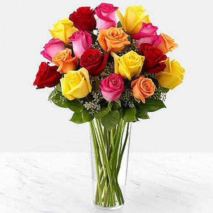 Vase Of Vivid Roses: Birthday Flower Arrangements