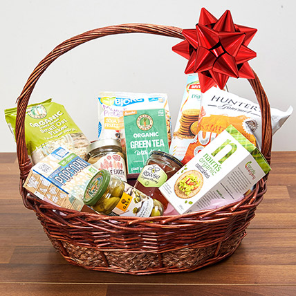 Mint Green Tea & Snacks Basket: Birthday Hamper Singapore