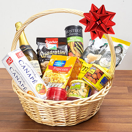 Sparkling Juice & Snacks Basket: Birthday Gift Hampers