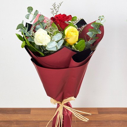 Vibrant Bouquet Of Colored Roses: Birthday Bouquet