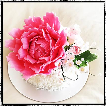 Peony Flower Coconut Lemon Cake: Eggless Birthday Cakes