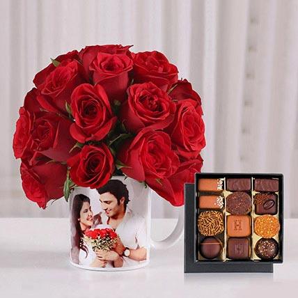 Personalised Mug Roses and Chocolates: Customized Gifts