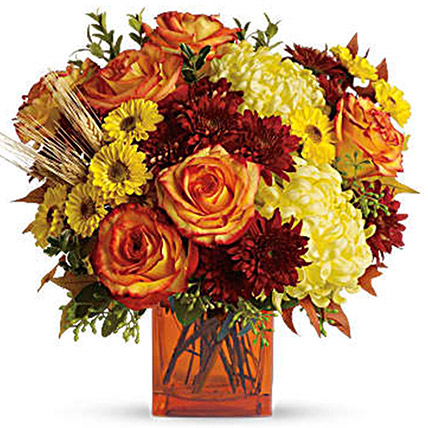 Exotic Mixed Floral Vase: Thanksgiving Gift ideas