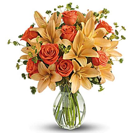 Orange Floral Vase Arrangement: Orange Bouquets
