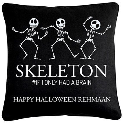 Skelton Halloween Wishes Cushion: Halloween Gifts